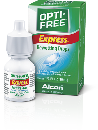 OPTI-FREE® Express® Rewetting Drops clean and moisten contact lenses while you wear them.