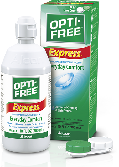 OPTI-FREE® Express® multi-purpose contact solution for sensitive eyes.