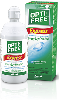OPTI-FREE® Express® cleans, disinfects, and rinses your contact lenses.
