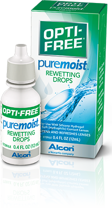 OPTI-FREE® Puremoist® Rewetting Drops provide a burst of contact lens moisture.