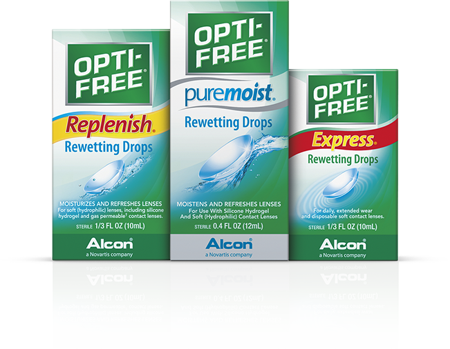 OPTI-FREE® Replenish® Rewetting Drops condition and moisturize contact lenses.