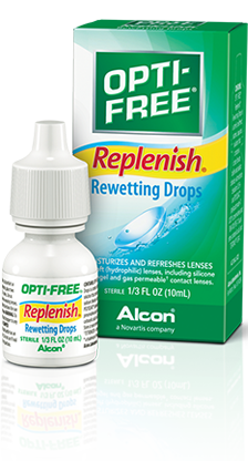 OPTI-FREE® Replenish® Rewetting Drops keep contacts comfortable.