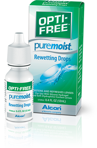 Moisturize your contact lenses with OPTI-FREE® Puremoist® Rewetting Drops.